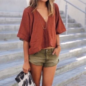 Free People Distressed Cut Off Jean Shorts Green
